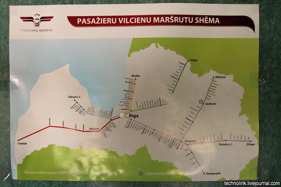 2012. gada Latvijas pasažieru vilcienu maršrutu shēma. Foto no technolirik.livejournal.com