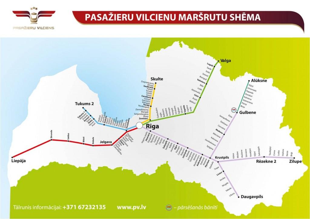 Latvijas dzelzceļa pasažieru vilciena maršrutu shēma.