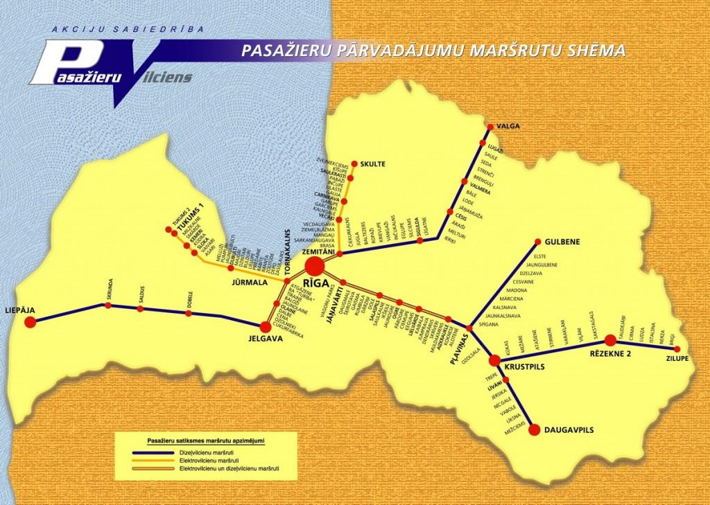 2010. gada pasažieru vilciena kustības shēma Latvijā.