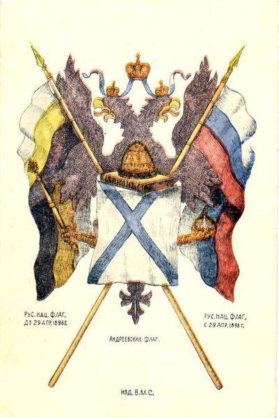 Pastkarte ar Krievijas karogiem. 19. gadsimta beigas.