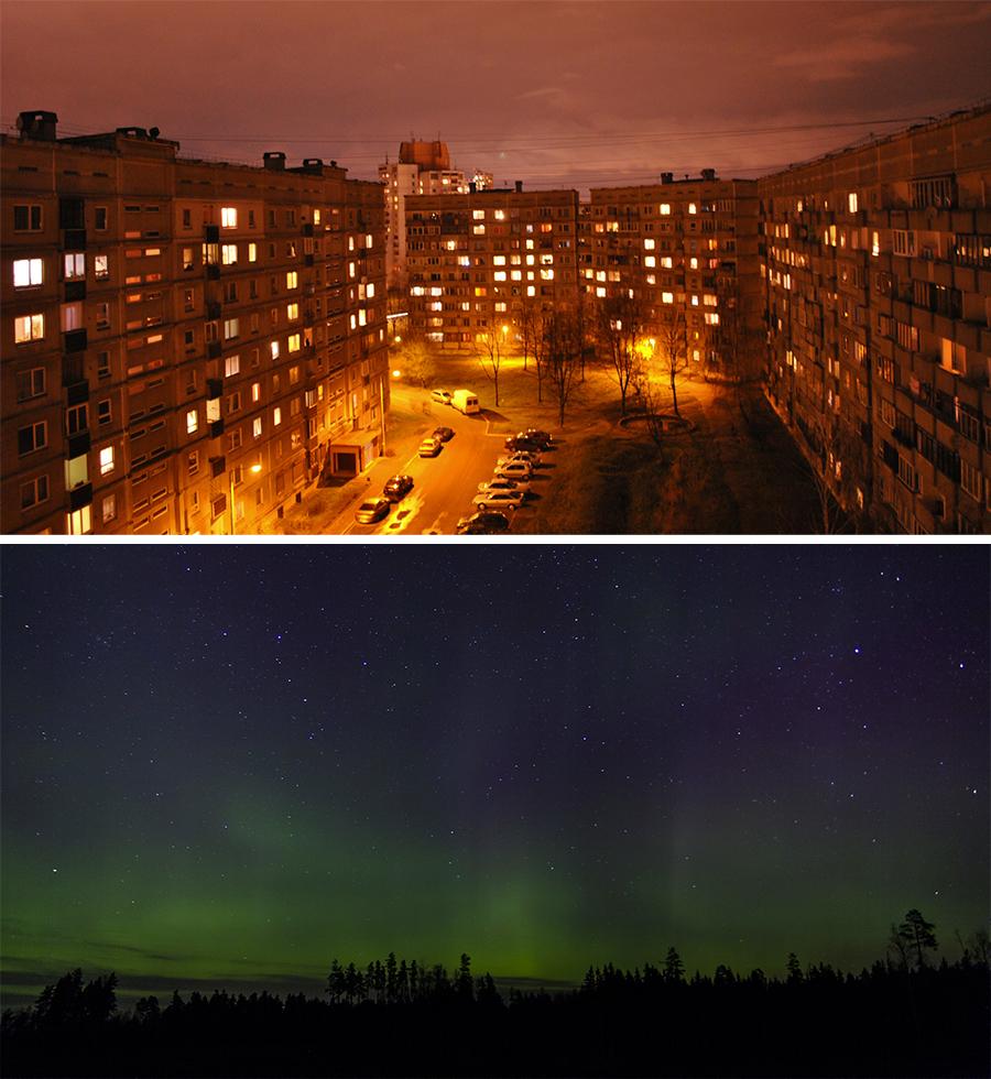 Nakts skati no parasta daudzdzīvokļu nama logiem un no dzīvokļa logiem Silakrogā.