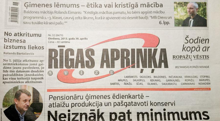 Rīgas apriņķa avīze. Laikraksta galviņa un logo 2013. gada aprīlī.