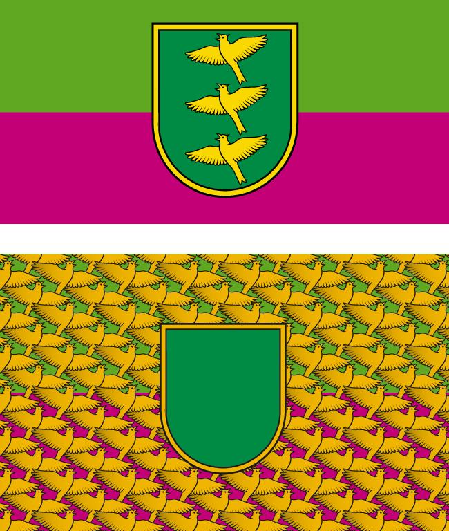 Ropažu novada pašvaldības simbolikas (karoga) oriģinālais variants un mrserge.lv versija dekoratīviem nolūkiem.