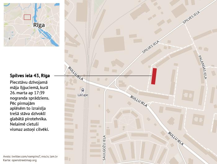 Spilves iela 43. Rīgā, kur 26. martā notika sprādziens. 10 minūšu veidojums.