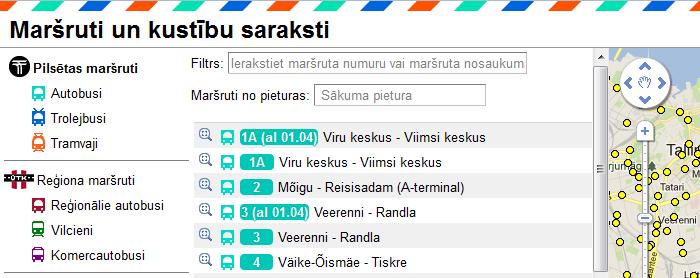 Tallinas pilsētas un piepilsētas sabiedriskā transporta maršruti un kustību saraksti.