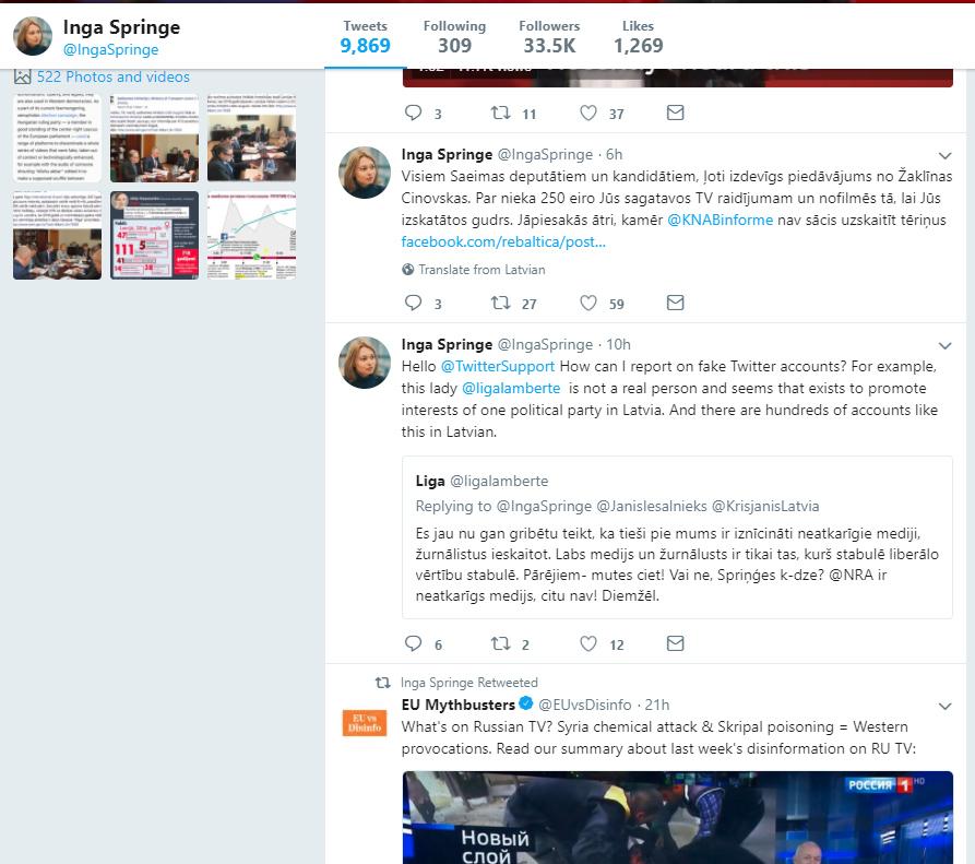 Tvitera konta @ingaspringe aktivitāšu vēsture.