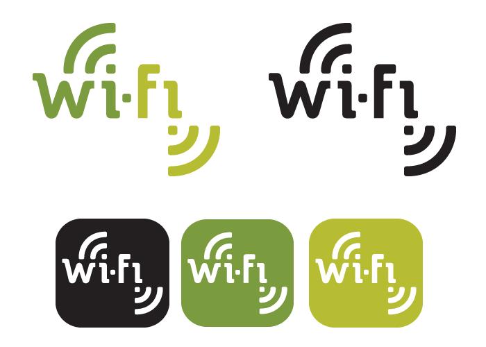 Wi-fi logo bezmaksas lietotošanai. Parastais un aizpildītā kuba variants mlenbaltā un krāsainā versijā.