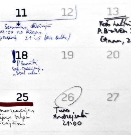 2011. gada kalendārs. Piezīmju veikšanas piemērs.