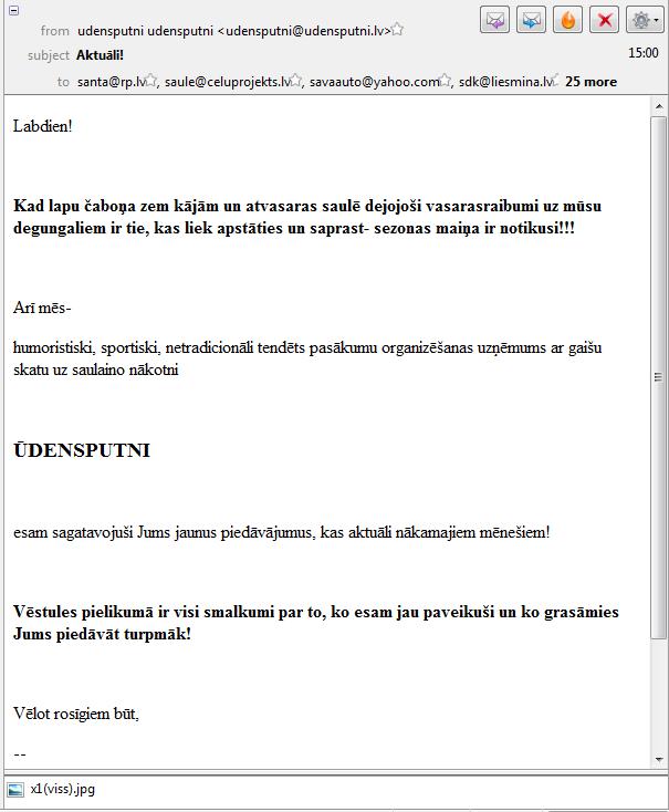 E–pasta vēstule no pasākumu organizatora Ūdensputni.
