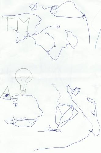 Jānis Džimmijs Bižāns zīmē. Māksla divu gadu vecumā.