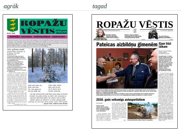 Laikraksts Ropažu Vēstis 2010. gada decembrī un 2011. gada janvārī.