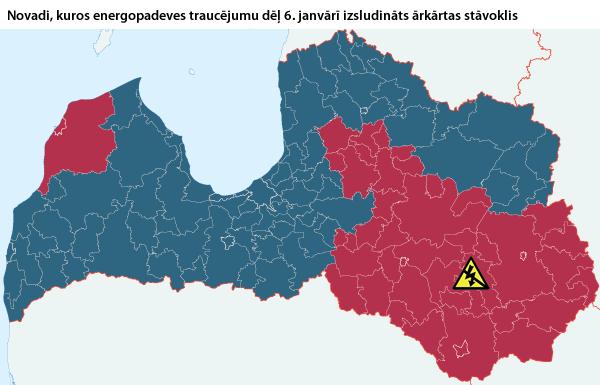 Latvijas novadi, kuros 6. janvārī elektrības padeves traucējumu dēļ izsludināts ārkārtas stāvoklis.