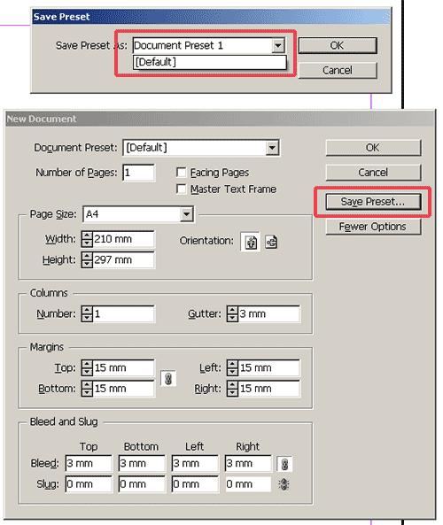 Kā saglabāt Adobe InDesign noklusēto dokumenta izmēru
