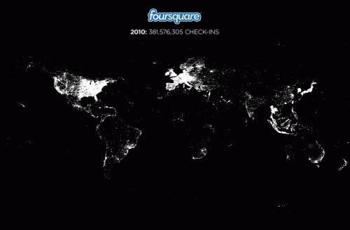 Foursquare iečekošanās karte 2010. gadā.