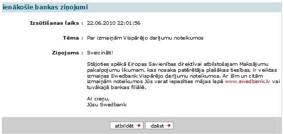 Ziņojums no Swedbank iekš business.swedbank.lv