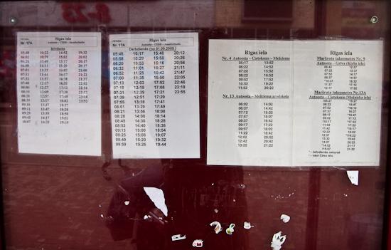 Autobusu saraksts.