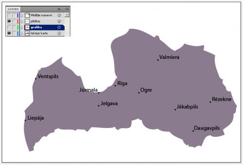 Grafika. Iedzīvotāju skaits. Slāņi un pamata karte.