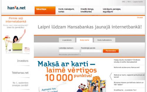 Esiet sveicināti Hansabankas jaunajā internetbankā, bļa!