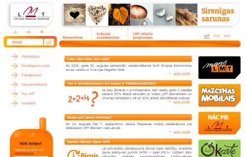 Jaunais Latvijas mobilā telefona mājaslapas paskats.