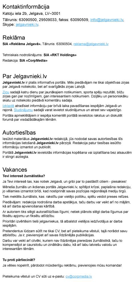 jelgavnieki.lv Kontaktinformācijas izklājums vienā lapā.