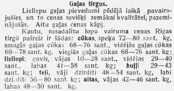 Lauksaimniecības tirgus ziņas. 1936. gads. Avots: periodika.lv