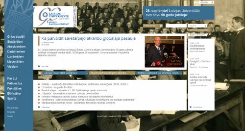 Latvijas Universitātes jaunā mājaslapa
