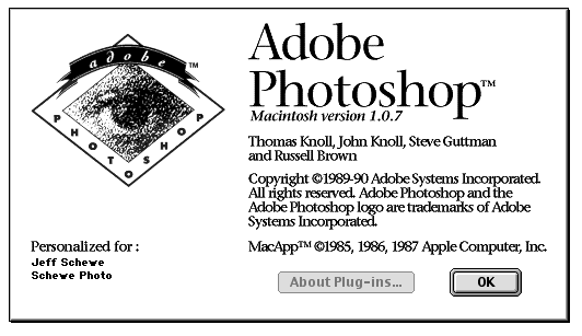 Photoshop 1.0 splash screen