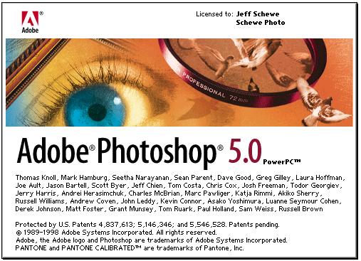 Photoshop 5 splash screen