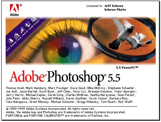 Photoshop 5.5 splash screen