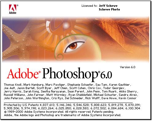 Photoshop 6 splash screen