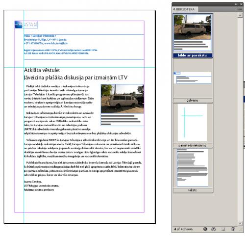 Vienkārša vēstule un bibliotēkas logs. Adobe InDesign.