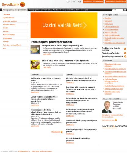 www.swedbank.lv pirmā lapa 2010. gada 1. jūlijā.