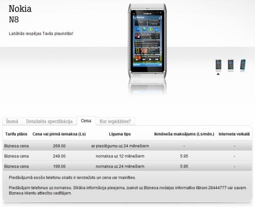 www.tele2.lv 2010.11.28. Nokia N8 pirmais piedāvājums biznesa klientiem.
